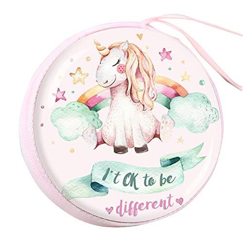 Kanggest.Monedero Unicornio Estuche de lápices para niños Bolsa de Maquillaje Auriculares Bolsa de Almacenamiento para niños niñas Adultos-Rosa