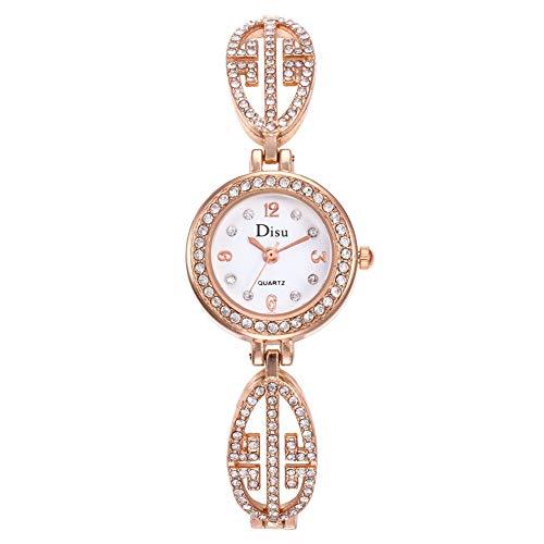 iHOMIKI Frauen höhlen Dial Glänzende Strass Uhr Analog-Quarz-Armbanduhr mit Kristalllegierung Armband Armbanduhr mit Akku Rose Gold Strap & White Dial