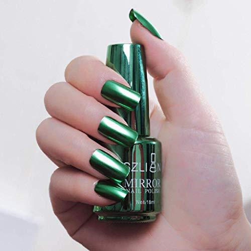 euwanyu Metallic Nail Polish Magic Mirror Effect Chrome Nail Art Polish Varnish (K) - Pink-nail-strengthener