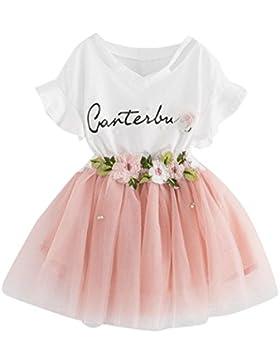 YUAN Baby Mädchen Kleidung Set 2 Stück Tops+ Rock Tütü Pettiskirt Geburtstag Geschenk Outfits Verkleidung