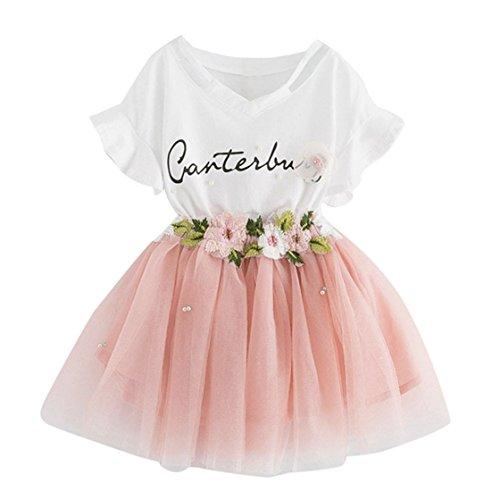 leidung Set 2 Stück Tops+ Rock Tütü Pettiskirt Geburtstag Geschenk Outfits Verkleidung (4 Jahre, Rosa) (Mädchen Disney Kleidung)
