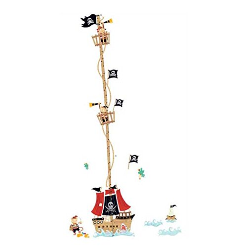 Price comparison product image Cartoon Pirate ship height ruler wall stickers - SODIAL(R)Cartoon Pirate ship height ruler wall stickers for kids rooms boys growth chart stadiometer design removable vinyl Corsair