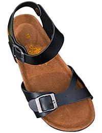 Damen Sandalen Sandaletten Zehentrenner Sommer Pantoletten Slipper 550 Silber