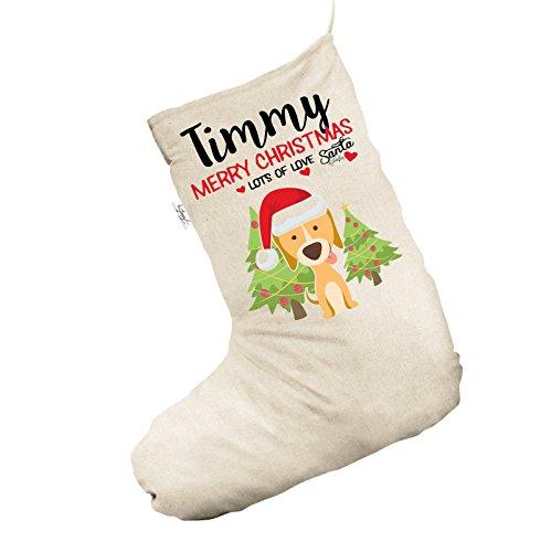 Weihnachten Hund mit Bäume personalisierbar Natürliche Jumbo Weihnachten Strümpfe Socken (Weihnachten Hund Strumpf)