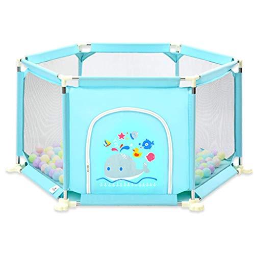 WEN-Playpens Laufgitter-Kindersicherheitszaun, 8 Platten tragbare Faltbare Wiege Indoor Outdoor Safety Play Laufgitterzaun, Raumteiler (Farbe : Blau) -