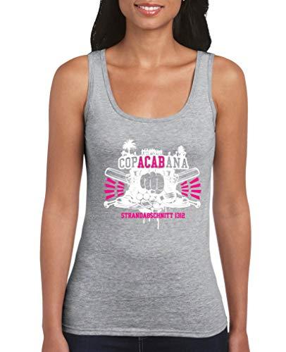 Frau Schläger-tank-shirt (Comedy Shirts - Copacabana Strandabschnitt 1312 Schlaeger - Damen Tank Top - Grau/Weiss-Pink Gr. XXL)