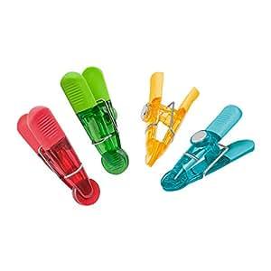 Wedo 6422099 Notiz Magnetklammern (Glossy, aus Kunststoff, geriffelte Griffflächen) 4 Stück, farbig sortiert
