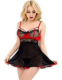 c28ac94a5b Yummy Bee Plus Size Lingerie Babydoll Chemise Set Lace Black Red Dress G  String Set Black