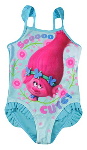 DreamWorks Trolls Troll Mädchen Badeanzug (Türkis, 6/7 Jahre(122/128 - Troll Mädchen Kostüm