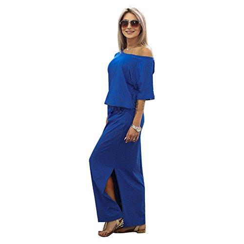 Frauen Lange Maxi Abendkleider Sommer Kurzarm Kleid mit Tasche Lose Strandkleider