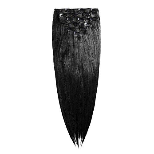 Clip In Extensions schwarz Haarverlängerung Set - 7 Haarteile glatt Haarverlängerung 60 cm
