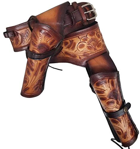 Modestone 22 Cal Western Left Cross Draw Double Pistolengürtel Leather 46 -