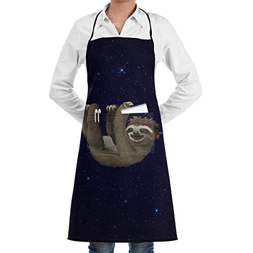 Cooking Apron Sloth Clipart Menâ€s Womenâ€s Unisex Bakery Kitchen Long Aprons Sleeveless Overalls Portable with Pocket for Cooking,Baking,Crafting,Gardening,BBQ (Kostüm Clipart)