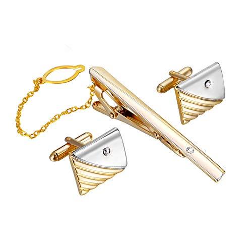 Gold einfache diagonale Streifen Krawatte Manschettenknöpfe Herren Krawattenklammern Manschettenknöpfe Set Schmuck