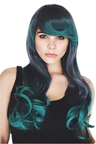 (Prettyland C913 - 65cm dunkel Grau & Pfau Green zwei Farben Volumen Trendfrisure Perücke)