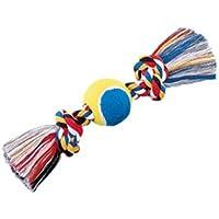 Nobby Os + Balle de Tennis avec 2 Nœuds Jouet en Coton pour Chien Multicolore 30 cm