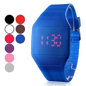 Bheema Montre LED Rouge Unisexe en Silicone (Autres Coloris Disponible)-Blue