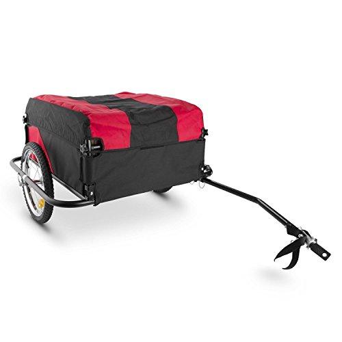 DURAMAXX Mountee Fahrradanhänger Lasten Hänger (mit Hochdeichsel, Transportbox mit 130 Liter Volumen, belastbar bis 60kg, Kugel-Kupplung für Fahrräder mit 26'' - 28') schwarz-rot