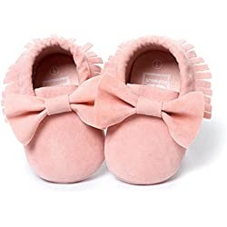 Zolimx Bambino Ragazze bambino nappe arco comodo scarpe da ginnastica (12CM, Rosa)