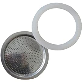 Andrew James Spare Filter and Silicone Gasket For A 9 Cup Size Stove Top Espresso Coffee Percolators And Moka Pots
