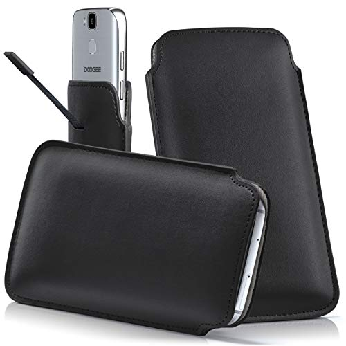 moex DOOGEE S50 | Hülle Schwarz Sleeve Slide Cover Ultra-Slim Schutzhülle Dünn Handyhülle für DOOGEE S50 Case Full Body Handytasche Kunst-Leder Tasche