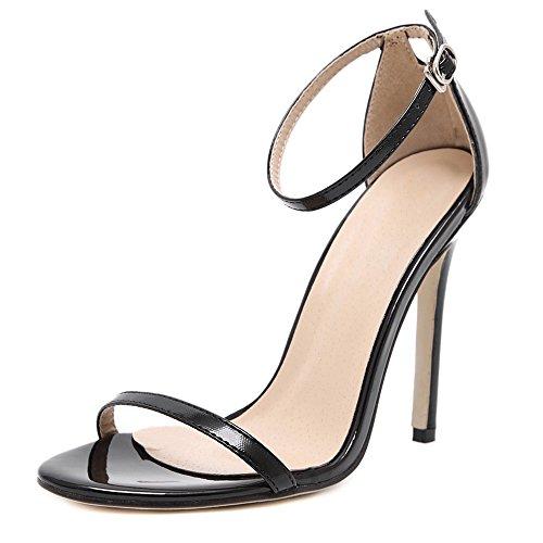 Eastlion Damen und Mädchen sind einfach Single Strap Style Stiletto High Heel Sandalen,Schwarz 43