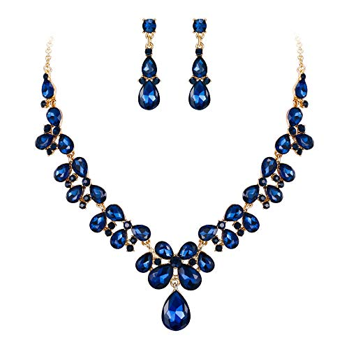Clearine Damen Hochzeit Braut Kristall Tropfen Cluster Statement Halskette Dangle Ohrringe Schmuck Set Sapphir-Blau Gold-Ton