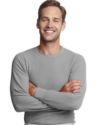 Hanes Mens Cotton Long-Sleeve Thermal Underwear Crew Top, XL, Grey