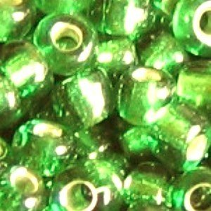 50g / 750 beads+ / Silver Lined Seed Beads 6/0 - Lime Green - A4649 / 50g