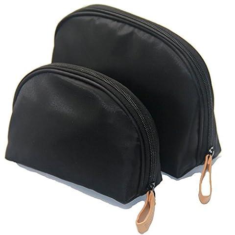 Ewparts 2 pack imperméable à l'eau à la main, cosmétiques, trousse sobre, sac de trousse de toilette , rouges à lèvres et maquillage (Black)