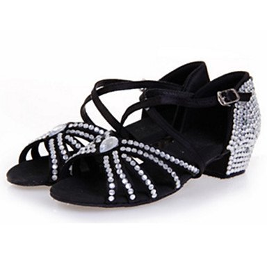 Ruhe @ Damen Dance Schuhe Satin Satin Latin Sandalen Stiletto Ferse Innen Blau Grün Rot Weiß Silber Drak Rot fuchsia