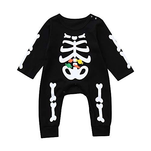 BBsmile Bebe Niño Halloween Disfraz Esqueleto Peleles de Manga Larga + Sombrero 70 Negro