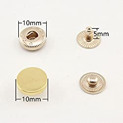 Golden 10mm zinc Alloy Flat top snap Fastener Snap Buttons Poppers Press Stud Button Snap Pliers for Sewing Leather Craft Clothing, Golden, Rose Gold and Light Gold to Choose. 14 Sets per lot H95