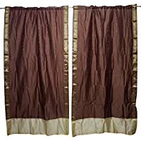 Mogul Interior 2 Indian Sari Curtain Drape Brown Window Treatment Home Decor 84x44