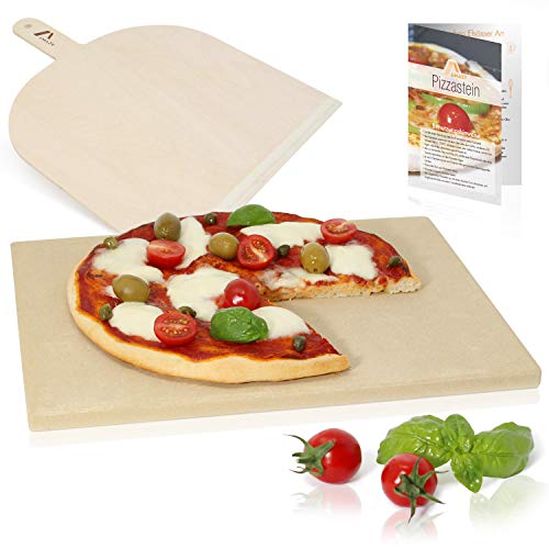 Amazy Pizza Stone incl. Informative Flyer with Recipes - Give Your Next Pizza Authentic Italian Flavour (38 x 30 x 1.5 cm)