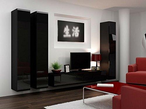 """Moderne TV Wohnwand """"Vigo 1"""" in schwarz hochglanz. Schöner Wohnzimmer-Schrank aus stabilem MDF Holz mit Vitrine und Sideboard. Der Blickfang in jedem Wohnzimmer zum  Top Preis."""