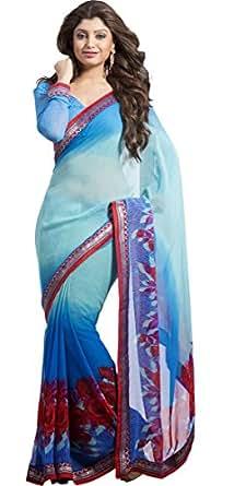 Casual Wear Shaded Blue Saree Printed Work Georgette Sari