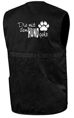 Die mit dem Hund geht Hundesportweste | Schwarz | Brust- und Rückendruck | Größe S
