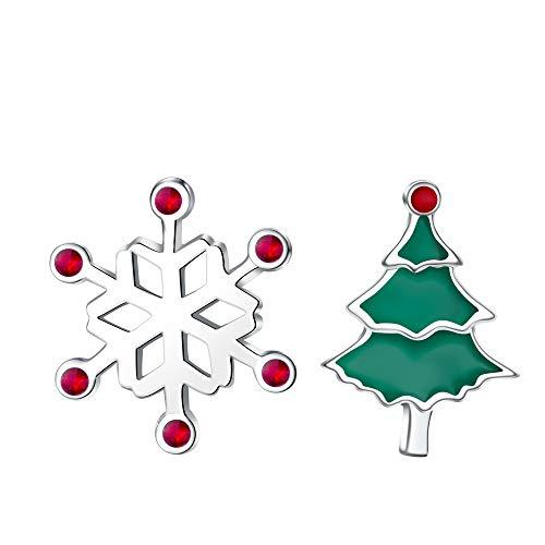 J.Endéar Ohrringe Weihnachten Damen Mädchen, 925 Sterling Silber Asymmetrische Ohrstecker,Edelweiss Weihnachtsbaum,Nettes kleines Weihnachts Geschenk mit Schmuckschatulle,Nickelfrei (Ideen Kitschige Weihnachts-outfit)