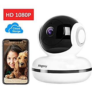 Megeny Security Camera IP Camera Wireless 1080P WiFi Surveillance System with HD Night Vision,Cloud Storage,Human/Motion Detection,Two-Way Audio,Video Alarm,Monitor for Baby/Elder/Pet,Pan/Tilt