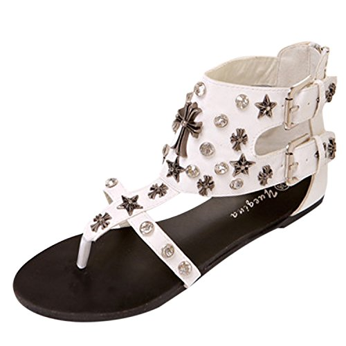 Oasap Women's Open Toe Rhinestone Flat Thong Sandals White