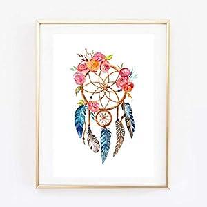 Din A4 Kunstdruck ungerahmt - Traumfänger Dreamcatcher Blumen Federn Boho Chic Aquarell Geschenk Druck Poster Bild