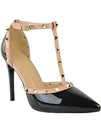 Fashion Thirsty Nuevo Mujer Fiesta con tachuelas Zapatos de Salón Tacón Alto Rock Sandalias de Tiras Tacón Aguja Talla