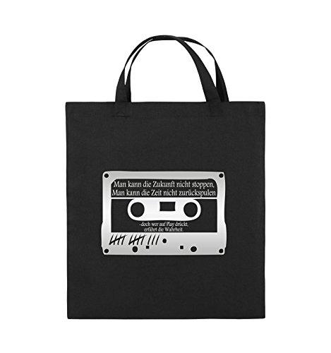 Buste Comiche - Ragazze Morte Non Mentono - Cassetta - Borsa Di Juta - Manico Corto - 38x42cm - Colore: Nero / Rosa Nero / Argento