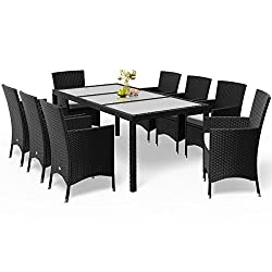 Deuba Poly Rattan Seating Group Black 8 Stackable Chairs & 1 Table 7cm Thickness Rests Garden Furniture Seating Set