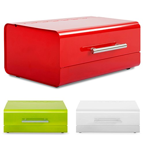 casa pura Retro Design Brotkasten Siya | lebensmittelechte Brotaufbewahrung | Metall Brotbox in DREI Farben (rot)