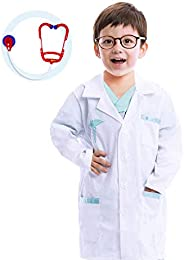 Jr. Doctor Lab Coat Deluxe Kids Toddler Costume Set for Halloween Scrub Dress Up Party and Scientists Role Pla