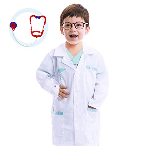Spooktacular Creations Unisex Kinder Arzt Doktor Kostüm Arztkittel Laborkittel Set für Mädchen Jungen Halloween Scrub Rollenspiel Spielzeug Geschenke Karneval Verkleidung (Medium)