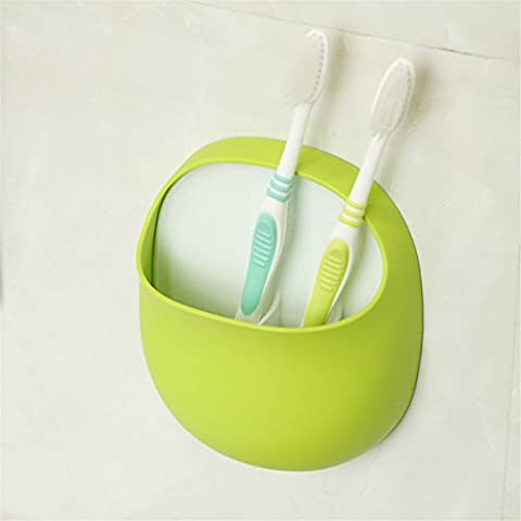 Toothbrush /Pen Holder and More with Suction Cup Sucker Accessorie, Plastic, Green and White