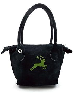 Schwarze Trachten-Handtasche Dirndltasche mit grüner Stickerei Hirsch. Echt Leder.